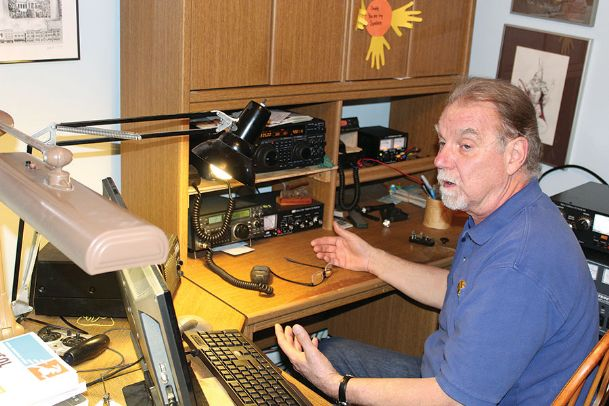 Licensed amateur radio operator Allen McBroom demonstrates his home-based radio station west of Starkville. He is one of nearly 20 members of the Magnolia Amateur Radio Club and has logged contacts with operators in more than 60 countries and all seven continents.