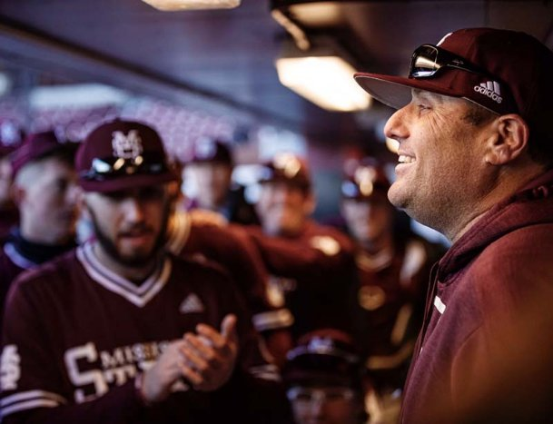 Mississippi State baseball coach Chris Lemonis addresses his team after a college baseball game earlier this season. The 2020 season ended early for the Bulldogs due to the outbreak of COVID-19. If the NCAA extends eligibility for all spring athletes, Lemonis and company will face a roster crunch in 2021.