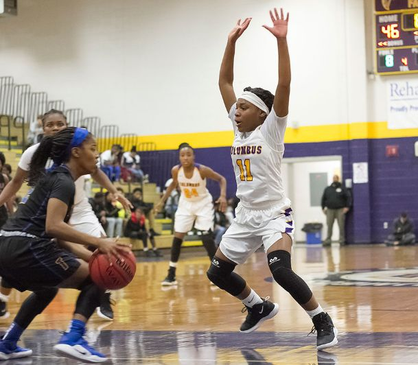 Jabria Snell (11) and the rest of the Columbus Lady Falcons begin region tournament play Tuesday.