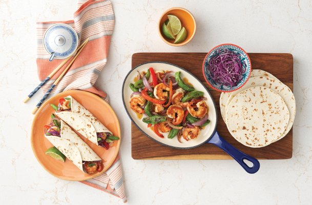 This sizzling shrimp fajita stir fry with ginger and roasted garlic rice vinegar can be ready in about half an hour.
