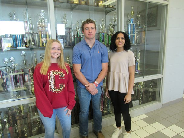 "Caledonia High School students Lucy Willcutt (freshman), Will Donald (junior) and Lisa Bassett (sophomore) were members of a nine-person committee charged with selecting a new mascot for Caledonia's schools. The group met weekly to set criteria and select finalists from submissions provided by K-12 students. ""Cavaliers� was chosen as the new mascot after a vote of more than 1,600 K-12 students."