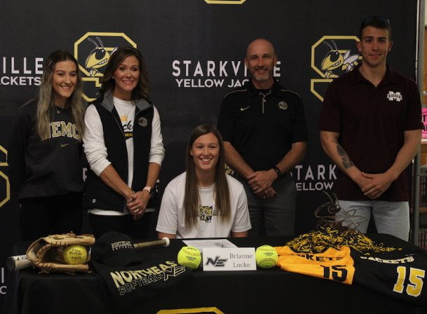 Starkville High School senior Brianne Locke signed her letter of intent to play softball at Northeast Mississippi Community College on Friday in the Starkville High School library.