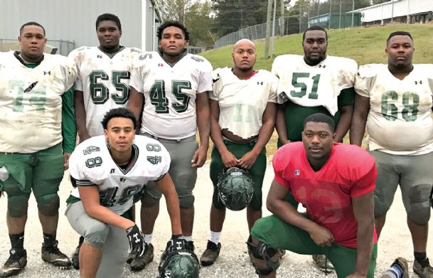 Members of the West Point High School offensive line, which includes Kearis Smith, Ezekiel Head, Nehemiah Walker, Jonquez Roby, Daveion Reives, TJ Anderson, and Sema'J Harris played an integral role in the team's victory against Olive Branch on Friday in the Mississippi High School Activities Association (MHSAA) Class 5A North State title game. West point will take on West Jones at 7 p.m. Saturday for the Class 5A State title at Southern Mississippi's M.M. Roberts Stadium in Hattiesburg.
