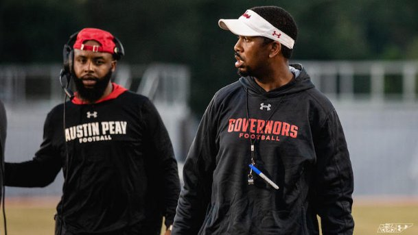 Marquase Lovings, right, is one of seven coaches on the Austin Peay staff who previously spent time at Mississippi State. Now the interim head coach following Mark Hudspeth's departure, Lovings is entering his first season at the helm of his own program.