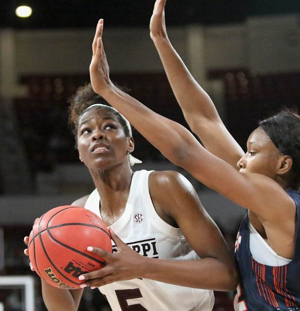 Mississippi State's Rickea Jackson prepares to shoot over UT Martin's Damiah Griffin during the fourth quarter Nov. 11 in Starkville.