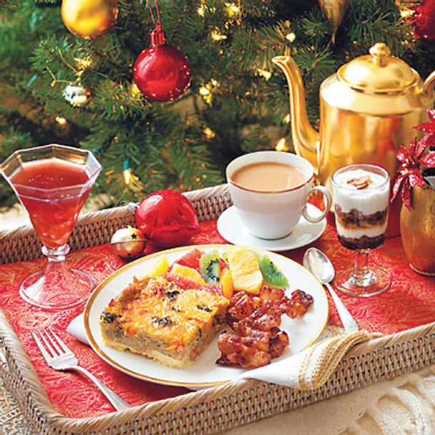 You can jazz up your Christmas morning breakfast or brunch menu with recipes like a rich parfait, winter fruit salad, peaches-and-cream French toast, sweet and peppery bacon and sparkling breakfast punch.