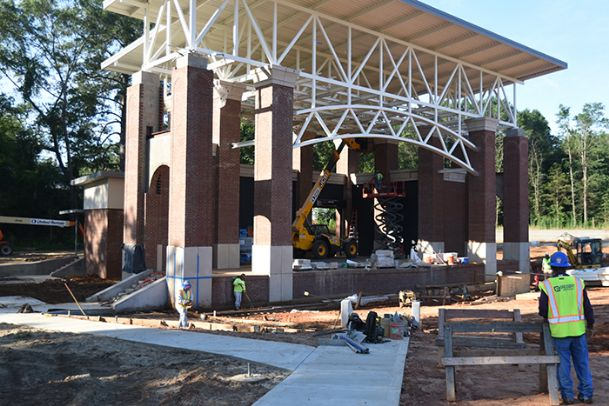 Construction for Phase 1 of the Sen. Terry Brown Memorial Amphitheater on The Island is nearly complete. Official say the $3.2 million project will be finished by the end of July with a ribbon-cutting possible in August.
