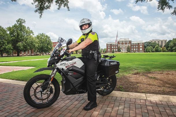 MSU Police Officer Michael Dover is pictured on a new electric motorcycle that is an addition to the MSU Police Department's patrol vehicles. Chief of Police Vance Rice said two new electric motorcycles will allow additional resources for fast response while supporting campus sustainability goals.