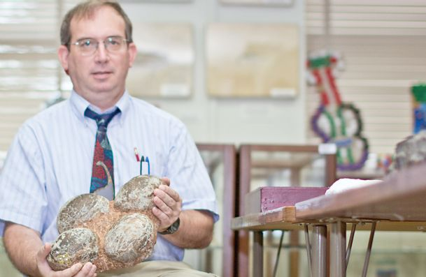 John Paul Jones, a doctoral student at Mississippi State University, shows off his dinosaur eggs, which are close to 70 million years old, according to tests. Jones found the fossilized eggs in Montana about 10 years ago. He is now awaiting results from a CT Scan done by Premier Imaging in Starkville.