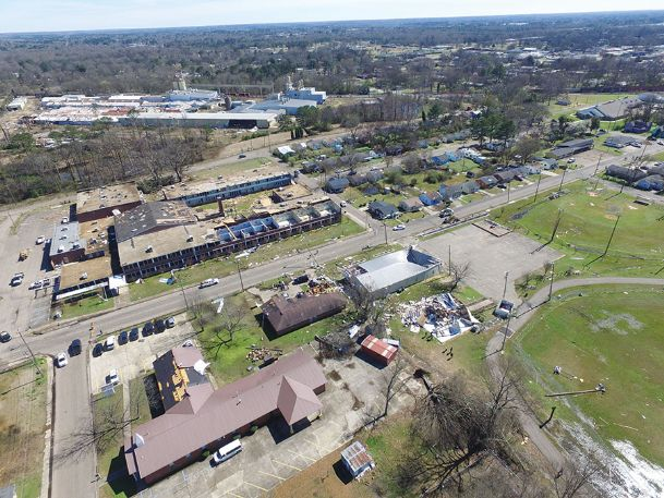 The wreckage of Hunt Success Academy and Sim Scott Park are pictured in this aerial photo.