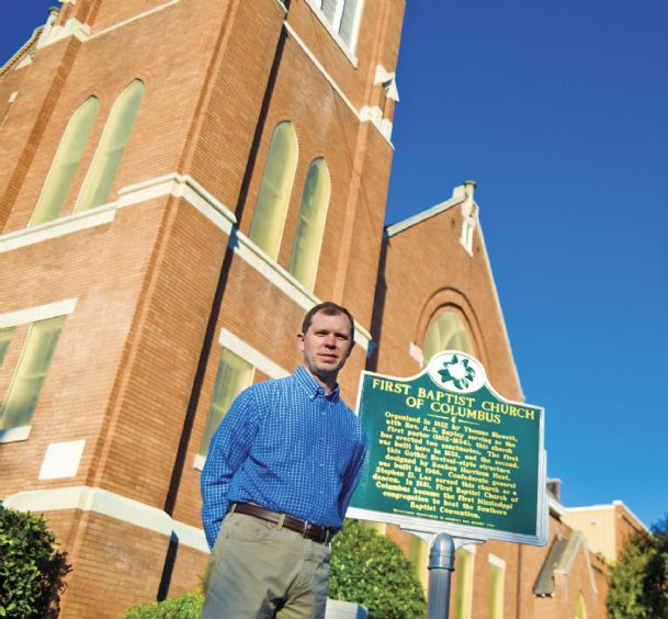 Shawn Parker is the pastor of First Baptist Church of Columbus. The church is selling its buildings and property downtown, which it has had nearly 200 years, and is planning to build a new sanctuary and church buildings on Bluecutt Road.