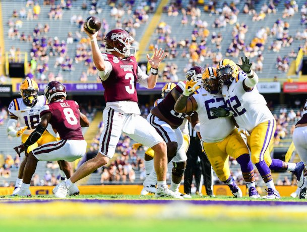 True to form, Mike Leach's air raid offense took full effect Saturday at LSU, as K.J. Costello and the Bulldogs came out firing. Costello had a school-record 623 passing yards on a school-record 60 passing attempts. Mississippi State took down No. 6 LSU, the defending national champions, 44-34.