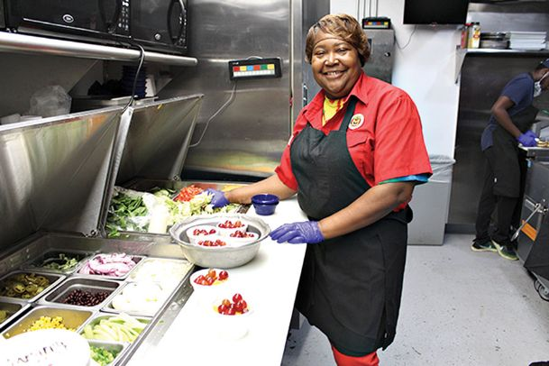 Mary Dixon, making salads at Zachary's Tuesday, looks forward to helping with Sunday's Taste of Columbus. Ten participating restaurants will offer foods from 1-5 p.m. at the benefit hosted by Zachary's at 205 Fifth St. N. in support of Main Street Columbus' beautification and revitalization efforts. Craft beer samplings will also be offered. Taste it all for a $10 donation. Dixon has worked at Zachary's for 19 years.