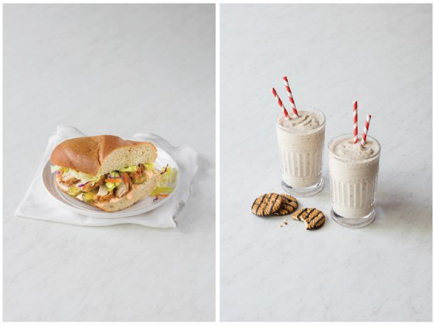 Spicy chickens sandwiches, left, with Nashville-style dressing combine crunchy fried chicken with a spicy complement. Neopolitan-style milkshakes, right, with strawberry preserves cool down a hot summer day.