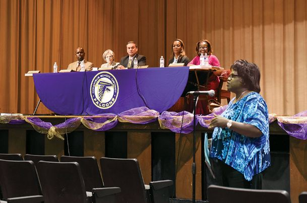 Brenda Smith Wilson speaks during the Columbus Municipal School District's community-wide stakeholders meeting at Cook auditorium Tuesday evening.