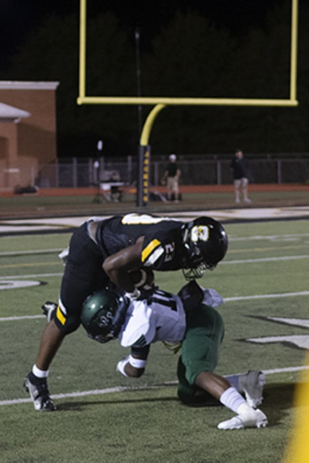 Starkville running back Amariyon Howard gets tackled while running the ball against West Point on Friday in Starkville. Howard scored two touchdowns as the Yellow Jackets won 40-28. Starkville was ranked first in Class 6A and the state of Mississippi on Wednesday.