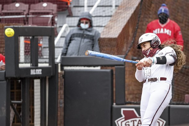 Chloe Malau'ulu, pictured against Miami (Ohio) on Feb. 13, had a key home run in the bottom of the sixth inning Sunday against Southern Illinois. The solo shot led off a five-run MSU rally, although the Bulldogs couldn't secure the win in eight innings.
