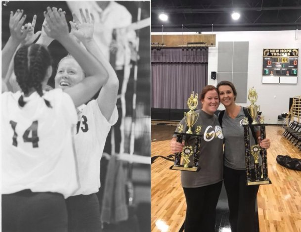 LEFT: Samantha Brooks (14) and Becky Hudgins (13) high-five during a match for Mississippi University for Women. The two played together from 1996 to 1998. RIGHT: Hudgins (left) and Brooks pose with their trophies at New Hope High School's Back to School Smash junior varsity volleyball tournament in 2019. Hudgins is an assistant for New Hope and coaches the Trojans' JV team, while Brooks runs the Caledonia High School program.