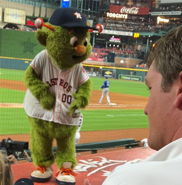 Houston Astros mascot Orbit has performed to large crowds this season at Minute Maid Park in Houston.