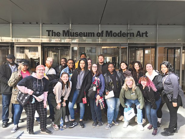 "Art students from The W stand in front of an entrance to the Metropolitan Museum of Art in New York City earlier this month. Front row: Georgia Wood, Haley Roundtree, Amyah Kahey, Sarah Upchurch, Blake Davis, Neely Jenkins London Roberts; 2nd row: Lexie Ava, Ian Johnson, Audrea Powell, Clara Whitley, Thomas Kennedy, Kyunglin Baek, Addison Garrett, Kelsey Cockrell, Ketina ""Tink� Tutton; 3rd Row: Dominique, Jamie Henderson, Justin Carson; missing: Makaio Johnson and instructor Ian Childers."