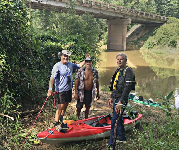 "Dudley Bearden, ""HD� Taylor and Bobby Manning pause for a picture before launching their kayaks in the Sipsey River earlier this month for a one-night camping trip."
