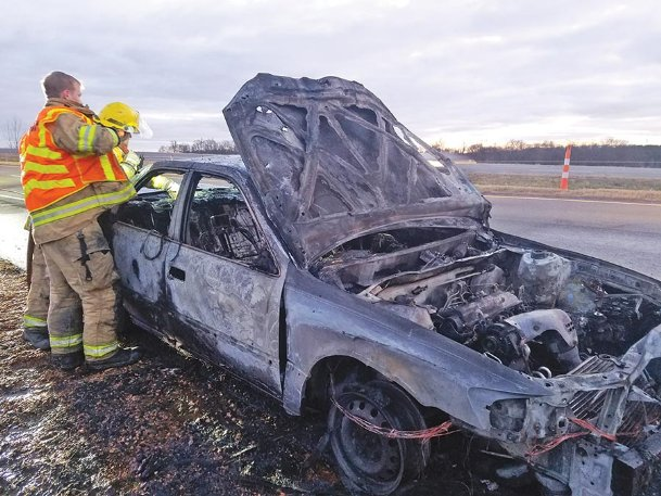 A car caught fire on westbound Highway 82 Monday afternoon, but it was extinguished within a half-hour and no one was injured. The East Oktibbeha Volunteer Fire Department and the Mississippi Highway Patrol responded to the fire at 4:05 p.m. near the interchange between Highways 82 and 182, just east of Clayton Village. The driver was the only occupant of the vehicle, pulled over when the hood of the car started to release smoke and exited the car before it went up in flames, county fire services coordinator Kirk Rosenhan said. The car had a Noxubee County license plate, and the driver left the scene soon after the authorities arrived.