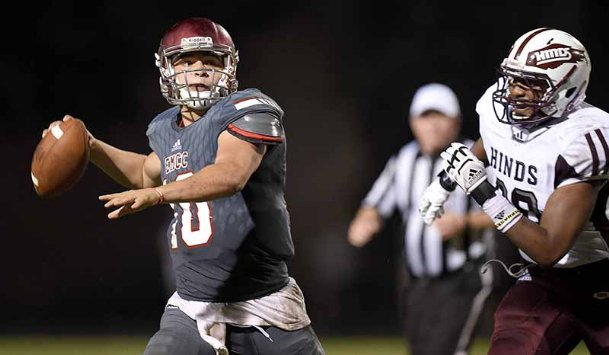 East Mississippi Community College quarterback Connor Neville throws a pass against Hinds Community College on Aug. 29 in Raymond. After an up-and-down season with the Lions, the Washington State transfer is still fighting for a return trip into college football's highest echelons.