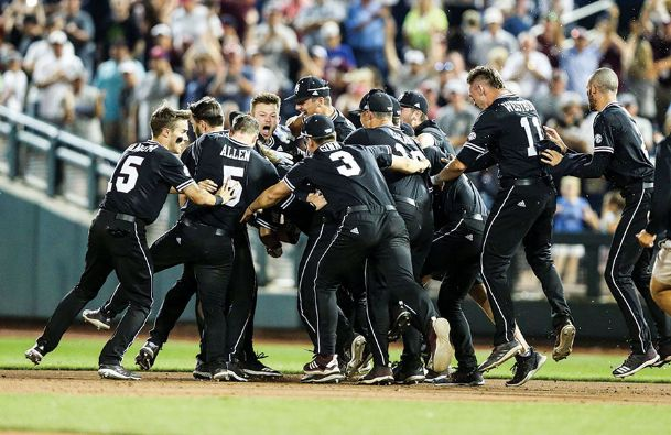 Mississippi State celebrates its come-from-behind victory over Auburn in its College World Series opener Sunday. The Bulldogs won 5-4 and will play Tuesday against Vanderbilt.