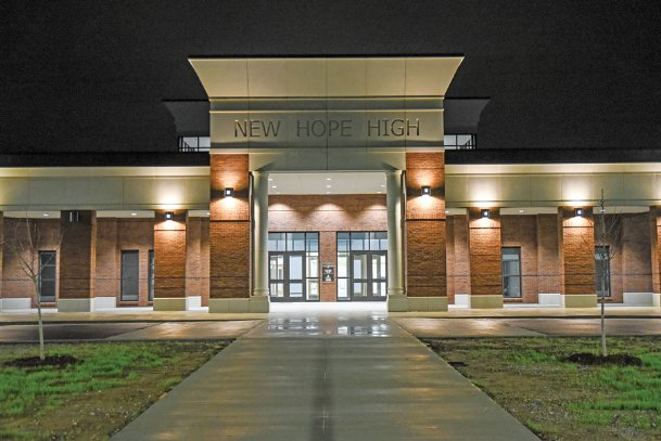 New Hope High School, pictured in this 2018 Dispatch file photo, has experienced dozens of roof leaks since completion two years ago. The $26 million facility was the most expensive paid for by a $44 million bond issue voters approved in 2015.