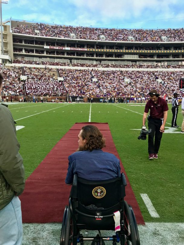 Sergeant Matt Zajac looks on as the Davis Wade Stadium crowd awaits his on-field honoring during last Saturday's game between Mississippi State and No. 2 LSU.