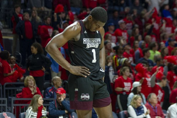 Mississippi State Bulldogs forward Reggie Perry (1) reacts during the second half against the Mississippi Rebels Tuesday at The Pavilion at Ole Miss.