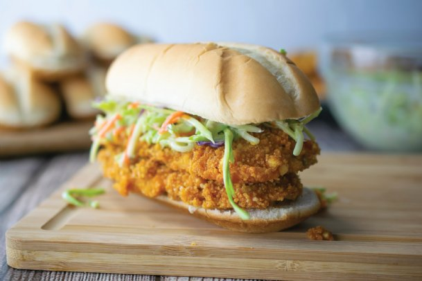 Spice up dinnertime in less than an hour with these Crunchy Buffalo Baked Veal Cutlet Sandwiches.