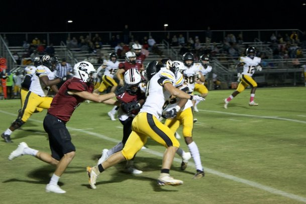 Caledonia's Kewon Wyatt carries the football during Friday's home game against Pontotoc. Caledonia lost 37-12.