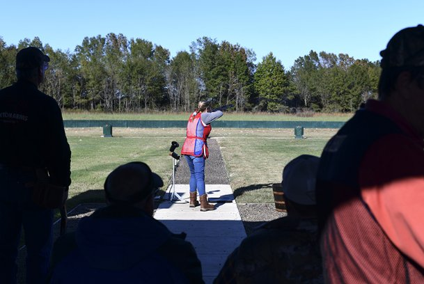 "Mendy Kiper watches as a clay pigeon deploys during the Black Prairie Helice Fall Harvest Invitational on Saturday at Prairie Wildlife in West Point. Kiper began shooting helice in 2013. Her husband taught her to shoot after gifting her a gun for Thanksgiving in 1998. ""It was really for duck season,� Kiper said jokingly. The two now own Cottonland Gun Club in Winnsboro, Louisiana."