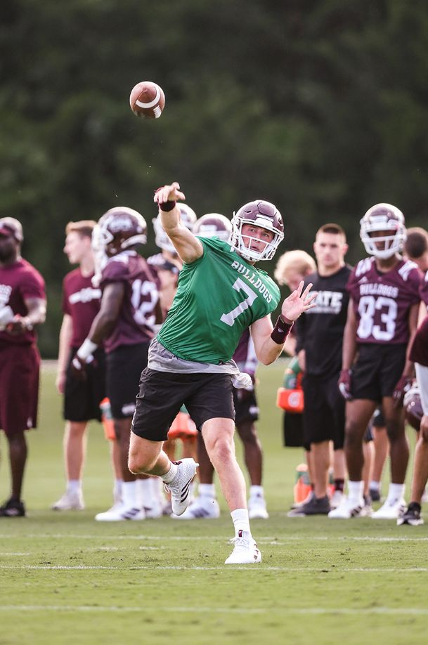 Mississippi State quarterback Tommy Stevens throws a pass in individual drills during a fall camp practice Friday in Starkville.