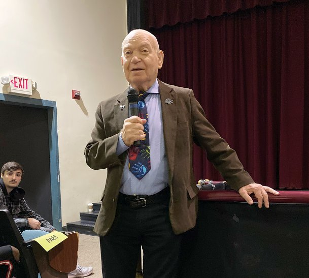 Holocaust survivor Sami Steigmann speaks to Starkville High School students Thursday morning. As a toddler, he was subjected to medical experiments in a German labor camp located in modern-day Ukraine. His message encouraged students to value their education and