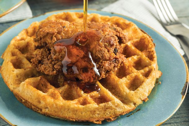 Chive and orange blossom honey waffles and spicy garlic chicken can be a star at brunch.