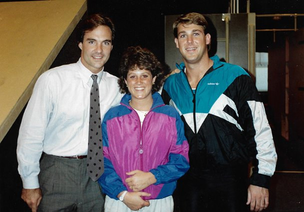 """""""American Gladiators� contestants (from left) Terry Moore, Aimee Ross and Brian Hutson pose together in 1989 amid two weeks of filming for the syndicated television competition in Hollywood, California. Hutson, a Brandon native and former Mississippi State University strong safety, won the male division of the 1989 season as well as the show's first Grand Championship a year later. He used the $45,000 in total prize money to continue working out so he could chase his dream to become an NFL player."""