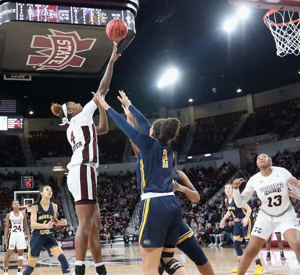 Mississippi State's Jessika Carter (4) shoots over Murray State's Sadie Hill (2) during the third quarter of an NCAA women's basketball game Friday Nov. 15, 2019 in Starkville.