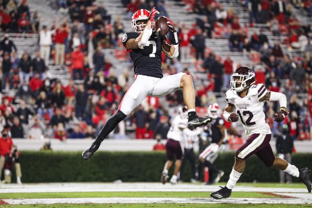 Georgia wide receiver Jermaine Burton (7) makes a touchdown catch against Mississippi State's Shawn Preston Jr. (12) during Saturday's game in Athens, Georgia.