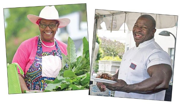 Cindy Ayers Elliott, Foot Print Farms, left, and Celebrity Chef Andre Rush