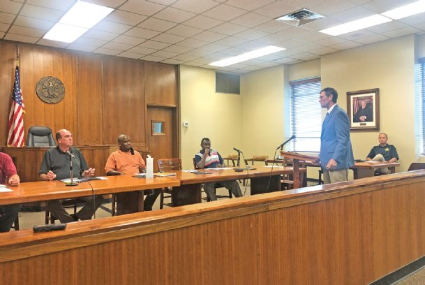East Mississippi Community College President Scott Alsobrooks speaks to the Clay County Board of Supervisors Thursday. Alsobrooks said EMCC is expected to be open in-person learning this fall.