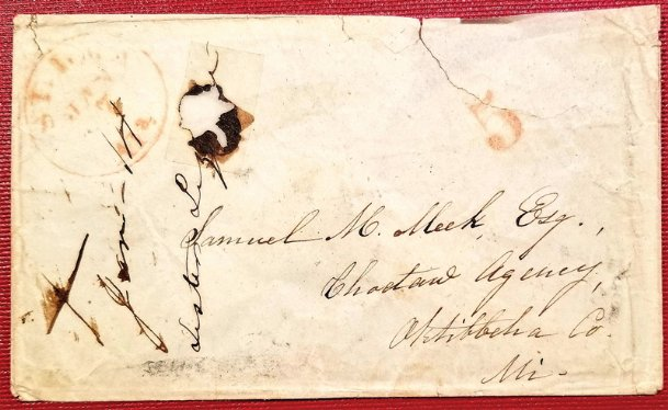 The first post offices in north Mississippi were associated with Chickasaw and Choctaw Indian agencies. The first was the Chickasaw Agency post office, which postal records show as being established in 1801. The Columbus Post Office was established on March 6, 1820. This envelope sent to Samuel M. Meek at the Choctaw Agency would date from the mid 1830s to the 1840s, as Oktibbeha County is included in the address.