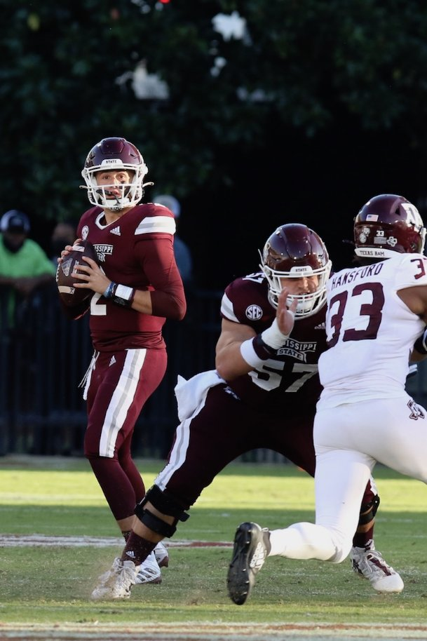 Mississippi State freshman quarterback Will Rogers drops back to pass against Texas A&M on Oct. 17 at Davis Wade Stadium in Starkville. The Bulldogs lost 28-14