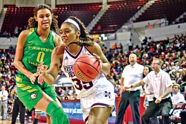 Victoria Vivians drives past Oregon's Satou Sabally en route to two of her 30 points Wednesday in the No. 5 Mississippi State women's basketball team's 90-79 victory against No. 9 Oregon at Humphrey Coliseum. Teaira McCowan paced the Bulldogs  (10-0) with a career-high 35 points. It marked the first time since MSU has had two  players score 30 or more points in the same game since Charetta Robinson (33 points) and Natasha Johnson (30) did it in a 108-85 victory against TCU on Dec. 31, 1992.