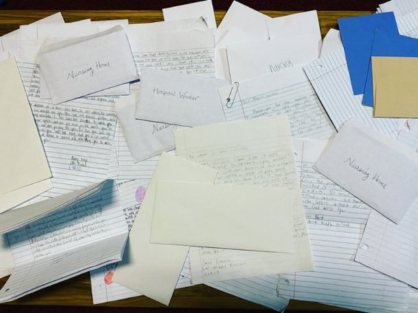 The Caledonia Middle School baseball team's 23 players turned in over 130 letters to be sent to Baptist Memorial Hospital-Golden Triangle and the Trinity Health Care Center.
