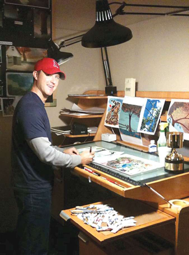 """Andy Harkness is pictured at work at Walt Disney Animation Studios in Burbank, Calif. Harkness won an Annie Award in February for Best Production Design in a Television Production, for 2009's Christmas special """"Prep and Landing.�"""