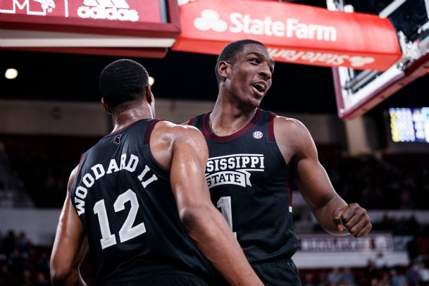 Former Mississippi State standouts Reggie Perry (1) and Robert Woodard II (12) expect to hear their names called Wednesday on NBA draft night.