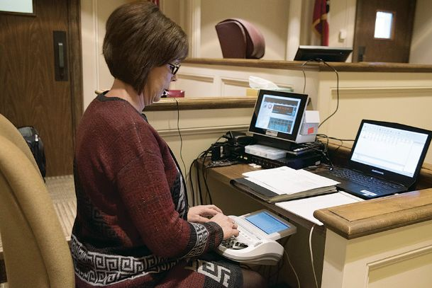 Melissa Grimes works on a stenographer machine at Lowndes County Courthouse on Thursday. She has worked as court reporter for 16 years. Mississippi is working to combat a critical shortage of court reporters entering the field with more awareness and recruiting programs.