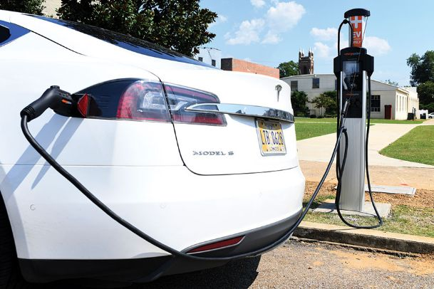 The ChargePoint charger, which charges electric vehicles, was installed on Main Street in front of the Tennessee Williams Home and Welcome Center Wednesday. Columbus Light and Water leased it from the Tennessee Valley Public Power Association for the next five years. It is the first EV charging station in downtown Columbus.
